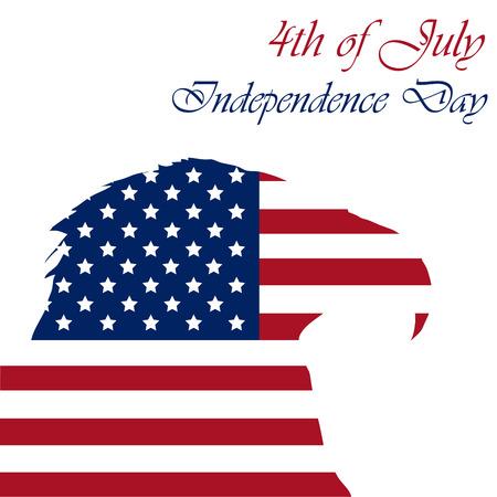 banderas america: Silueta de un águila con la bandera americana para el día de la independencia. Ilustración vectorial