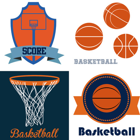 Set of backgrounds and labels with different basketball elements. Vector illustration