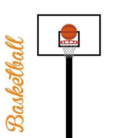 basketball net: Canasta de baloncesto aislado con una pelota de baloncesto. Ilustraci�n vectorial Vectores