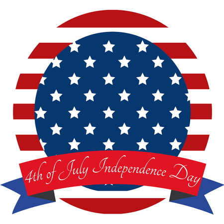 Round label with stripes and stars for independence day. Vector illustration Ilustracja