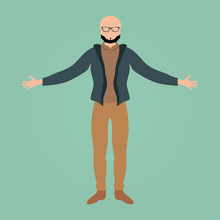 button down shirt: Isolated businessman on a blue background. Vector illustration