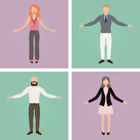 button down shirt: Set of office characters on different colored backgrounds. Vector illustration