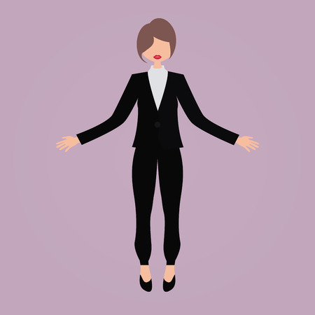 Isolated businesswoman on a pink background. Vector illustration