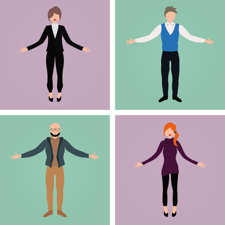 colored backgrounds: Set of office characters on different colored backgrounds. Vector illustration