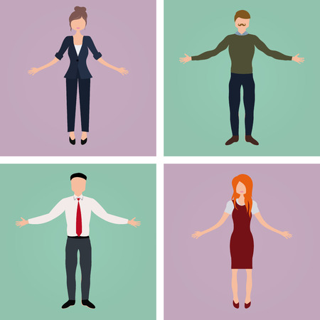 Set of office characters on different colored backgrounds. Vector illustration