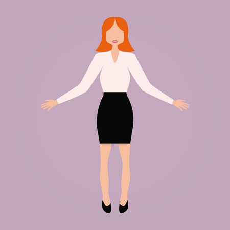 button down shirt: Isolated businesswoman on a pink background. Vector illustration