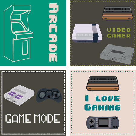 compute: Set of backgrounds with controllers, consoles and text. Vector illustration Illustration