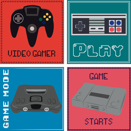 controllers: Set of backgrounds with controllers, consoles and text. Vector illustration Illustration