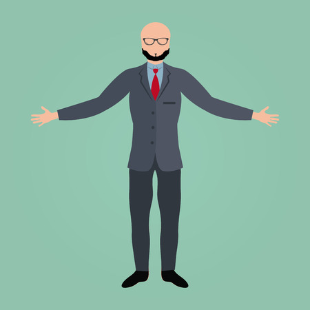 Isolated businessman on a blue background. Vector illustration