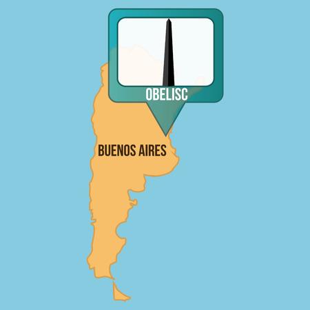 buenos aires: Isolierte Karte von Buenos Aires mit seinem Obelisken. Vektor-Illustration Illustration