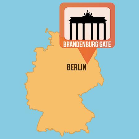 brandenburg: Isolated map of germany with the brandenburg gate. Vector illustration