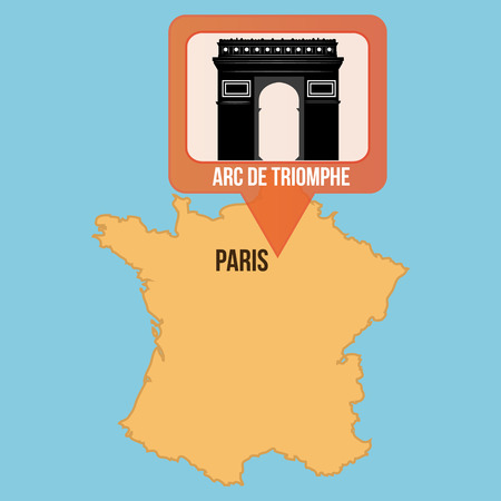 the triumph: Isolated map of france with the arc of triumph. Vector illustration