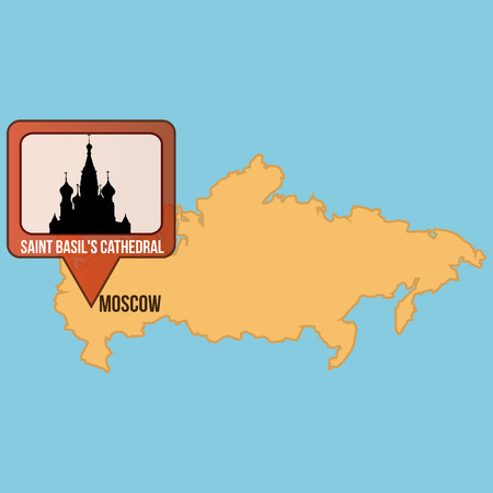 basil's: Isolated map of russia with the saint basils Cathedral. Vector illustration Illustration