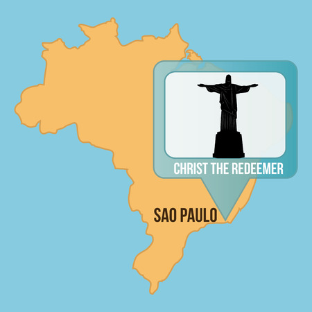 redeemer: Isolated map of brazil with christ the redeemer. Vector illustration