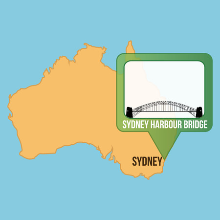 harbour: Isolated map of australia with the sydney harbour bridge. Vector illustration Illustration