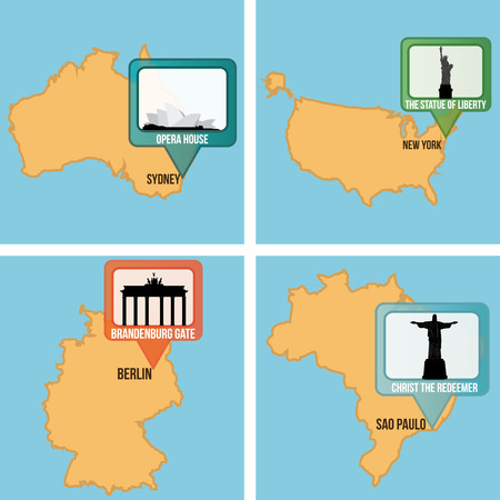 famous: Set of maps with different famous locations. Vector illustration