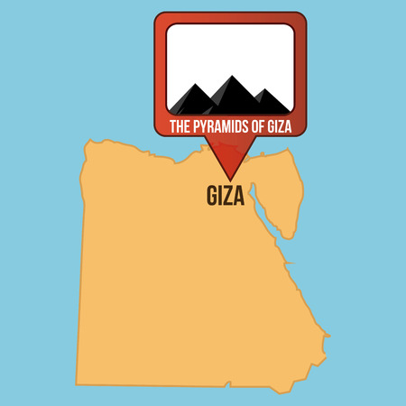 giza: Isolated map of egypt with the pyramids of giza. Vector illustration Illustration