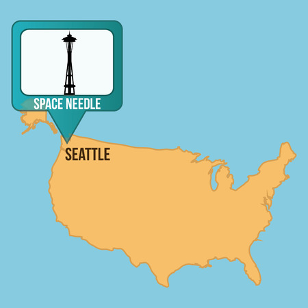space needle: Isolated map of united states with the space needle tower. Vector illustration