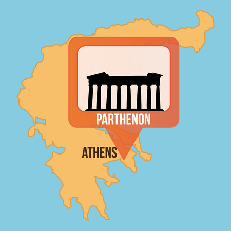 parthenon: Isolated map of greece and the parthenon. Vector illustration