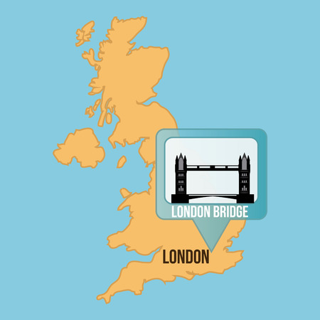 london bridge: Isolated map of england with the london bridge. Vector illustration Illustration