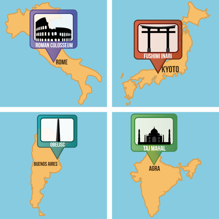 obelisk: Set of maps with different famous locations. Vector illustration