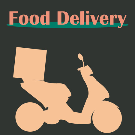 portage: Isolated silhouette of a motorcycle and text. Food delivery. Vector illustration