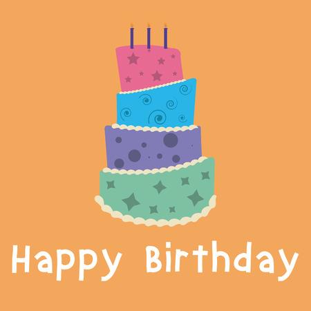 orange cake: Isolated birthday cake on an orange background. Vector illustration