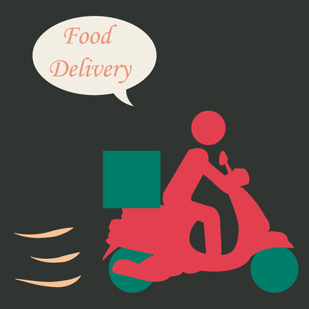 portage: Isolated silhouette of a person on a motorcycle. Food delivery. Vector illustration