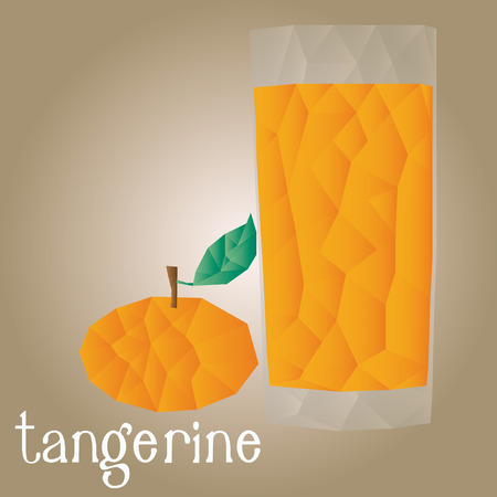 tangerine: Isolated tangerine and its juice on a white background. Low Poly. Vector illustration Illustration