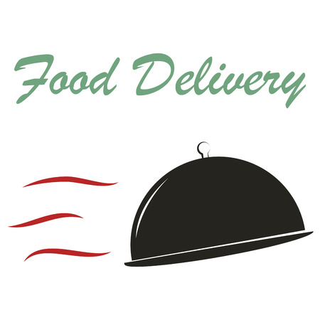 portage: Isolated dishes and text. Food delivery. Vector illustration