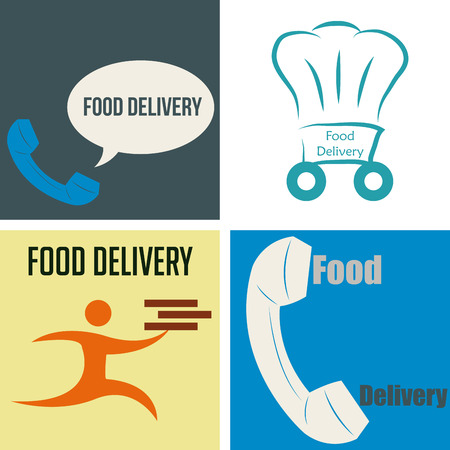portage: Set of icons with text and different elements. Food delivery. Vector illustration