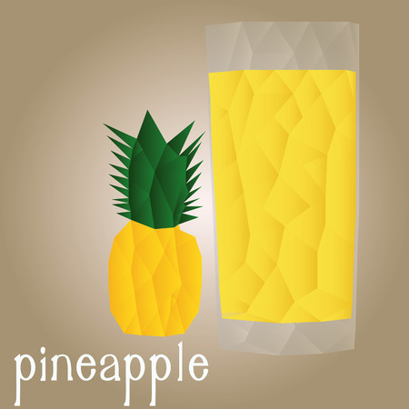 pineapple juice: Isolated pineapple and its juice on a white background. Low Poly. Vector illustration Illustration