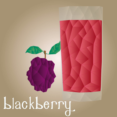 blackberry: Isolated blackberry and its juice on a white background. Low Poly. Vector illustration