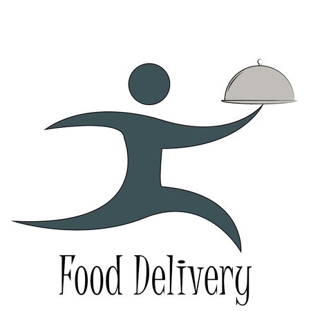 portage: Isolated icon of a person and text. Food delivery. Vector illustration