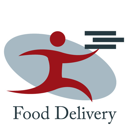 portage: Isolated icon with text and a person with boxes. Food delivery. Vector illustration