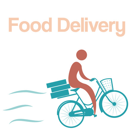 portage: Isolated icon of a person on a bicycle with boxes. Food delivery. Vector illustration