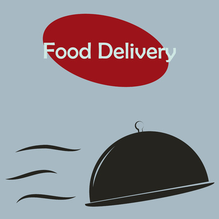 portage: Isolated silhouette of dishes and text. Food delivery. Vector illustration