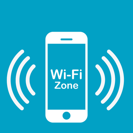 hotspot: Colored background with a phone silhouette as a wifi hotspot signal. Vector illustration