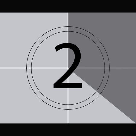 cinema screen: Grey cinema screen with a countdown. Vector illustration