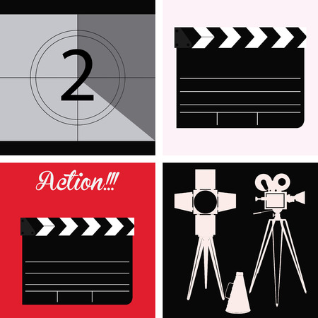 film industry: Set of cinema icons on different backgrounds. Vector illustration
