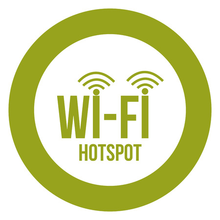 hotspot: Round label for a wifi hotspot. Vector illustration