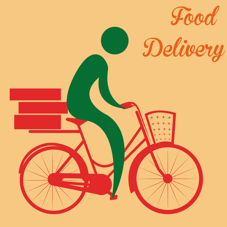 portage: Isolated icon of a person and a bicycle. Food delivery. Vector illustration