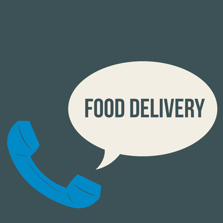 portage: Isolated phone and a bubble chat with text. Food delivery. Vector illustration