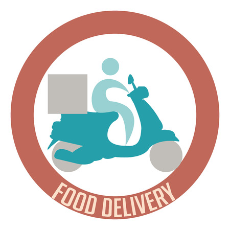 portage: Isolated label with an icon of a person and a motorcycle. Food delivery. Vector illustration