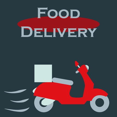 portage: Isolated motorcycle with boxes. Food delivery. Vector illustration