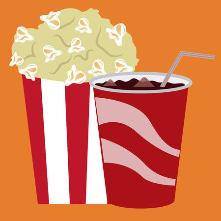 salumi affettati: Cinema isolato cibo su uno sfondo colorato. Illustrazione vettoriale
