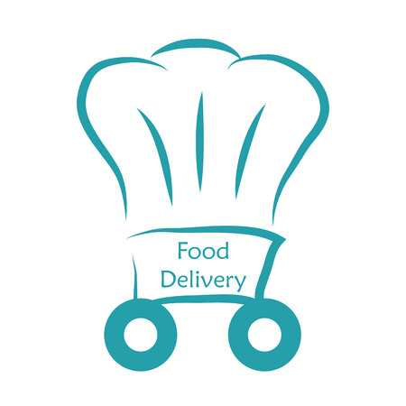 portage: Isolated chef hat and text. Food delivery. Vector illustration