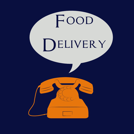 portage: Isolated telephone with a bubble chat and text. Food delivery. Vector illustration Illustration