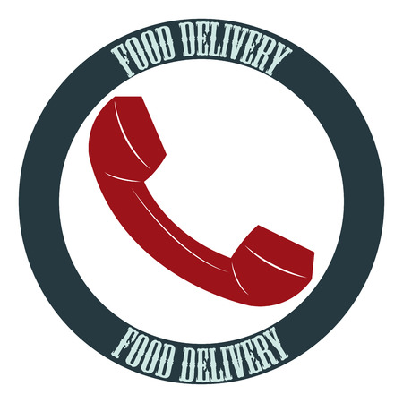 portage: Isolated label with text and a phone. Food delivery. Vector illustration