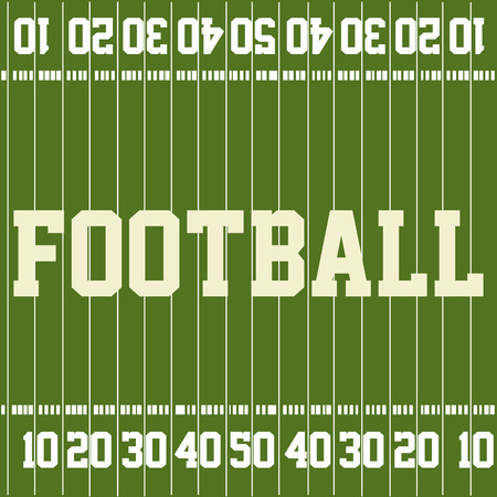 aerial view: Green football field with text and numbers. Vector illustration